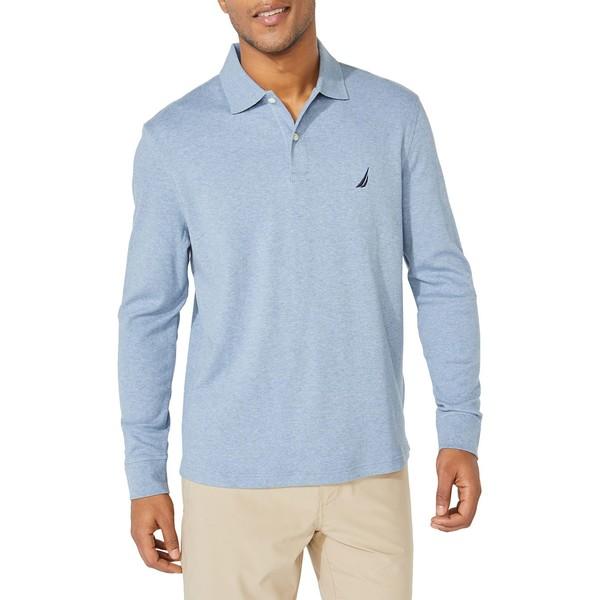 ナウティカ メンズ シャツ トップス Classic-Fit Long-Sleeve Cotton Polo Deep Anchor Blue