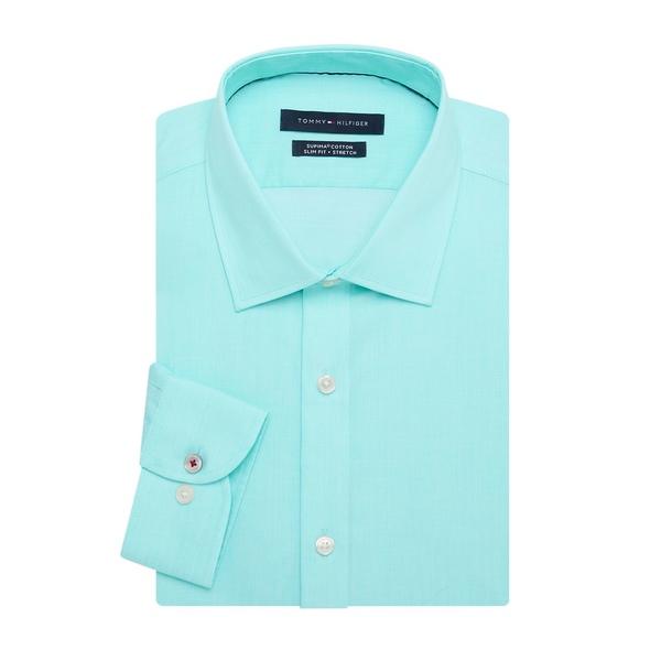 トミー ヒルフィガー メンズ シャツ トップス Slim-Fit Dress Shirt Peacock