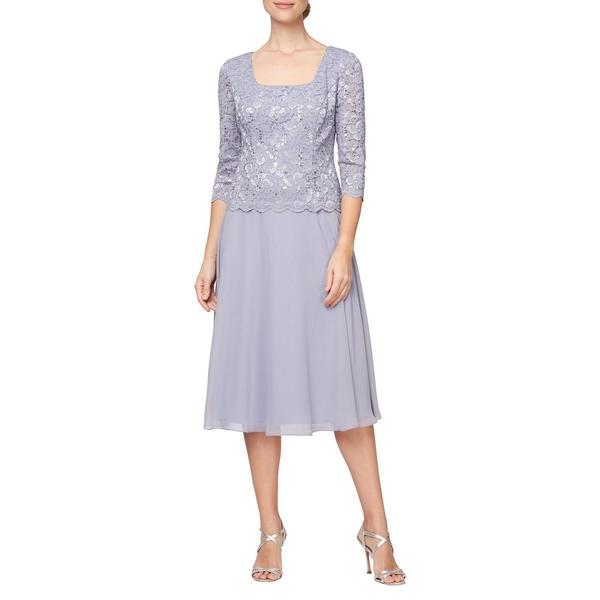 アレックスイブニングス レディース ワンピース トップス Scalloped-Trim Lace Dress Lavender