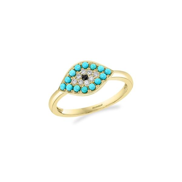 エフィー レディース リング アクセサリー 14K Yellow Gold Diamond Turquoise Ring Yellow Gold