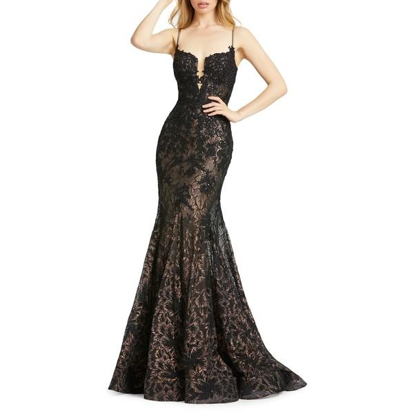 マックダガル レディース ワンピース トップス Floral Lace Trumpet Gown Black