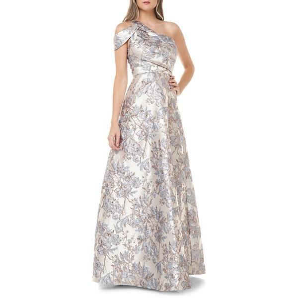 カルメンマークヴァルヴォ レディース ワンピース トップス Metallic Brocade One-Shoulder Gown French Blue