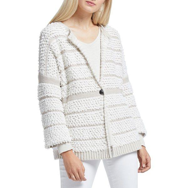 ニックプラスゾーイ レディース ニット&セーター アウター Loop Up Textured Cotton-Blend Cardigan Pale Sisal