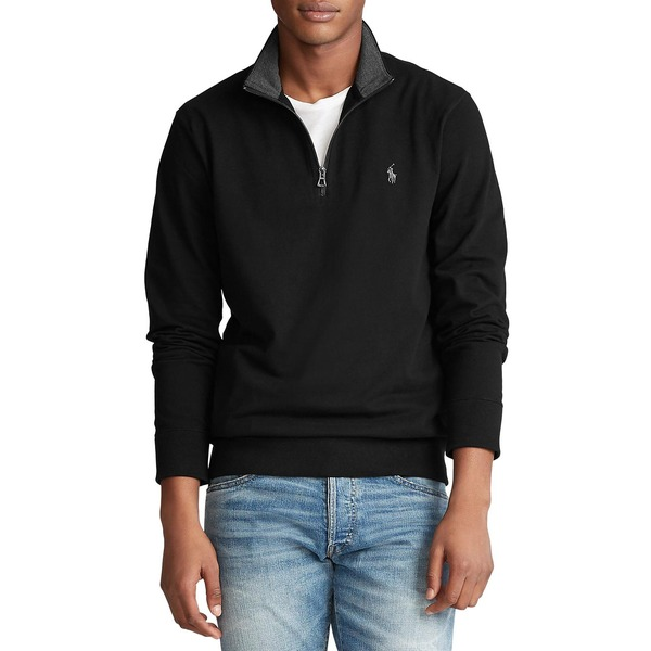 ラルフローレン メンズ ニット&セーター アウター Cotton Mesh Half-Zip Pullover Black