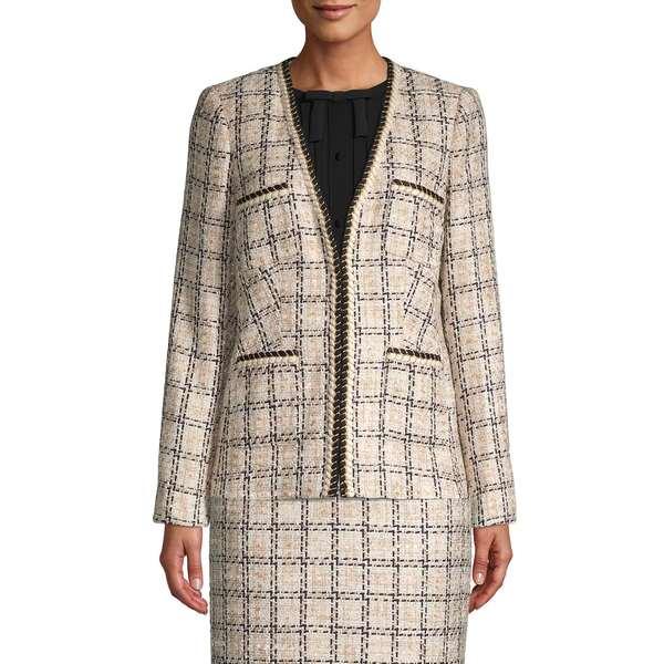 カールラガーフェルド レディース コート アウター Checkered Tweed Jacket Cream Multi