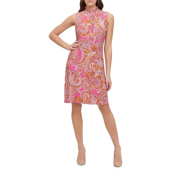トミー ヒルフィガー レディース ワンピース トップス Dancing Paisley Jersey Shift Dress Peony Red
