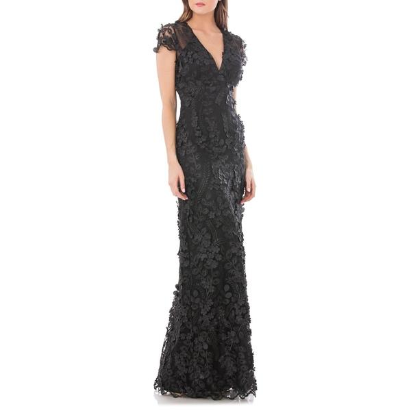 カルメンマークバルボ レディース ワンピース トップス 3D Floral Mermaid Gown Black