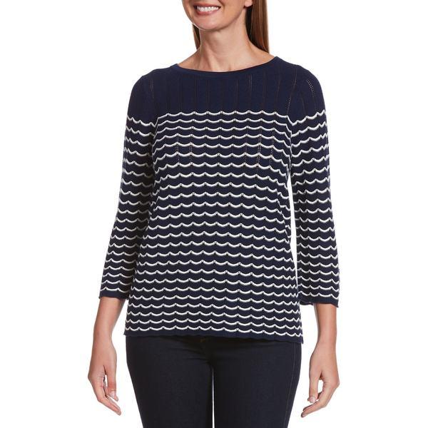 ラファエラ レディース ニット&セーター アウター Open-Knit Scalloped Cotton-Blend Sweater Mediterranean