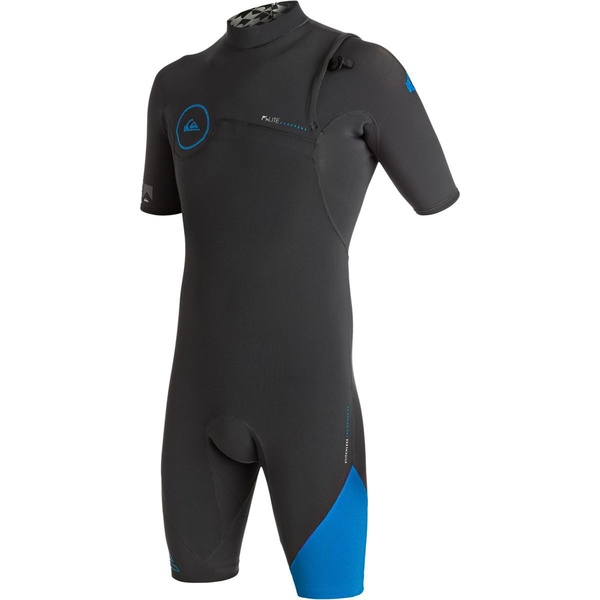 クイックシルバー メンズ サーフィン スポーツ 2/2 Highline Zipperless Short-Sleeve Spring Wetsuit - Men's Graphite/Cyan