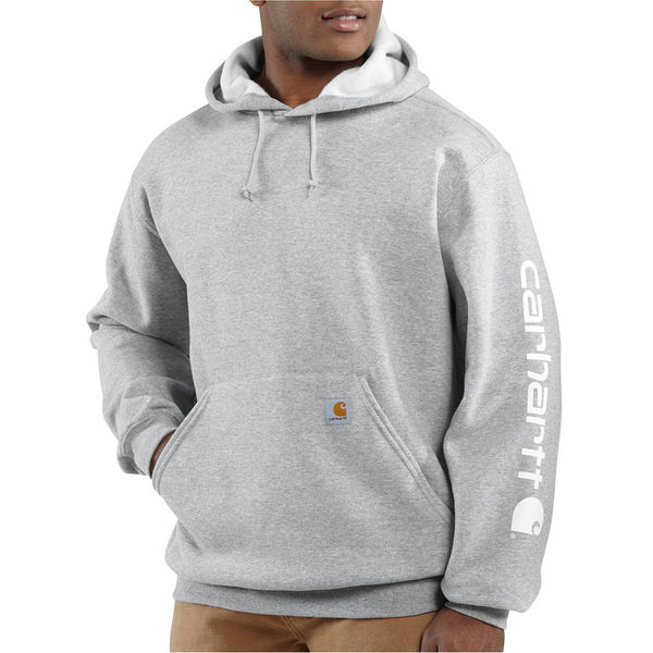 カーハート メンズ ニット&セーター アウター Midweight Signature Sleeve Logo Pullover Hoodie Heather Gray