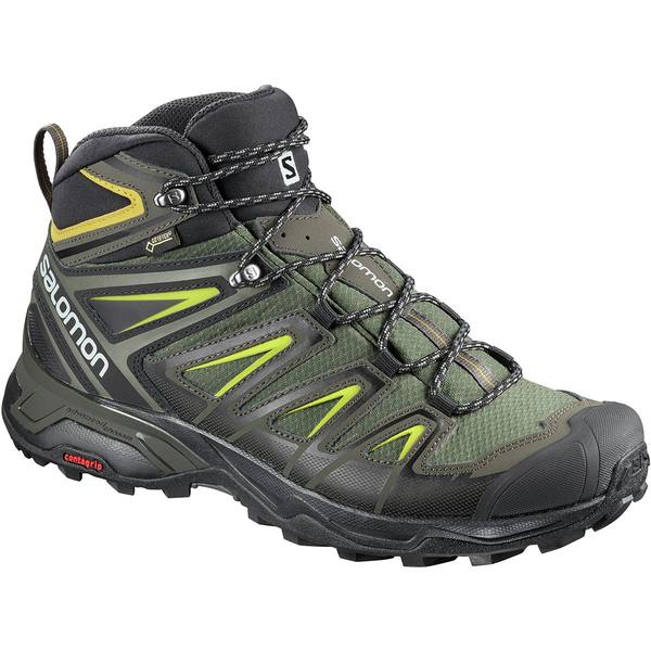 サロモン メンズ ハイキング スポーツ X Ultra 3 Mid GTX Hiking Boot - Wide - Men's Castor Gray/Black/Green Sulphur