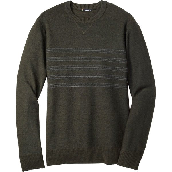 スマートウール メンズ ニット&セーター アウター Kiva Ridge Reverse Jersey Stripe Crew Sweater - Men's Olive Heather