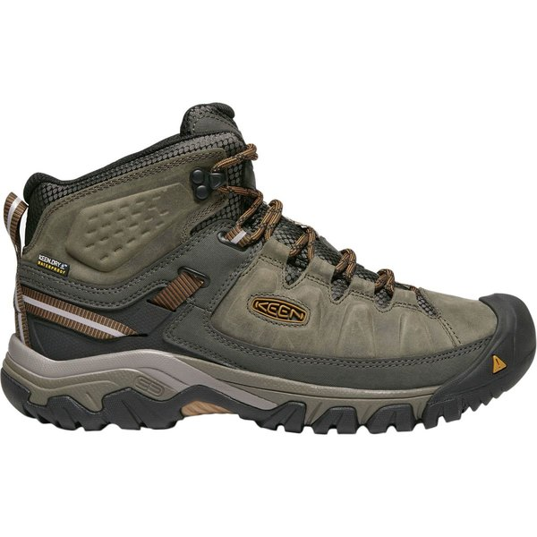 キーン メンズ ハイキング スポーツ Targhee III Mid Waterproof Hiking Boot - Wide Black Olive/Golden Brown
