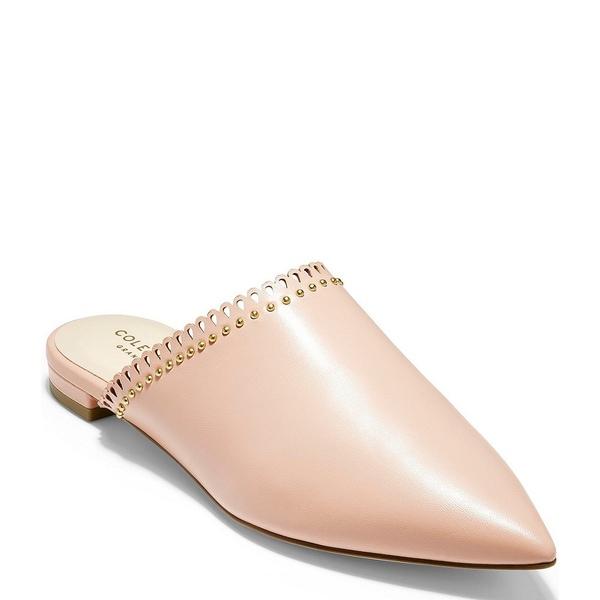コールハーン レディース サンダル シューズ Raelyn Leather Scalloped Studded Pointed Toe Mules Mahogany Rose Leather
