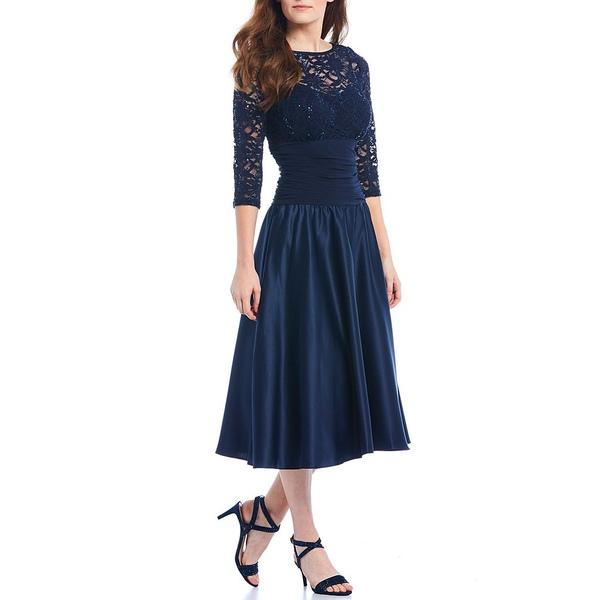 ジェシカハワード レディース ワンピース トップス Illusion Ruched Waist Midi Dress Navy