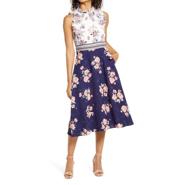 ヴィンスカムート レディース トップス ワンピース NAVY 最新アイテム MULTI 全商品無料サイズ交換 Midi Ruffle Crepe 優先配送 Dress Mixed Print Trim