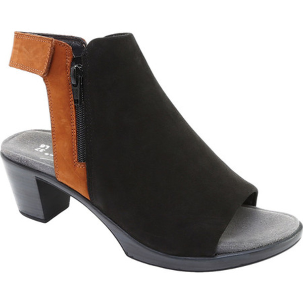 ナオト レディース ブーツ&レインブーツ シューズ Favorite Peep Toe Bootie Black Velvet/Hawaiian Brown Nubuck
