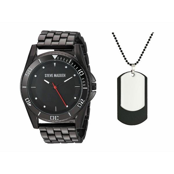 スティーブ マデン メンズ 腕時計 アクセサリー Watch and Necklace Set SMWS064 Black