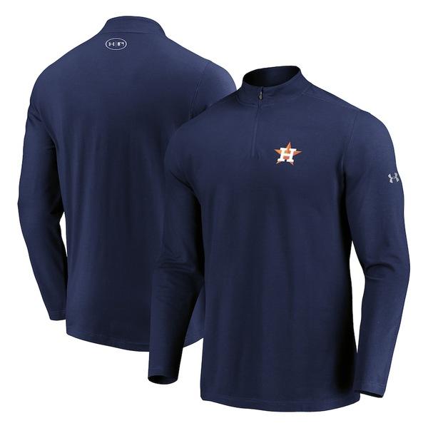 アンダーアーマー メンズ ジャケット&ブルゾン アウター Houston Astros Under Armour Passion Performance Tri-Blend Quarter-Zip Pullover Jacket Navy