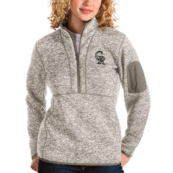 アンティグア レディース シャツ トップス Colorado Rockies Antigua Women's Fortune Quarter-Zip Pullover Jacket Oatmeal