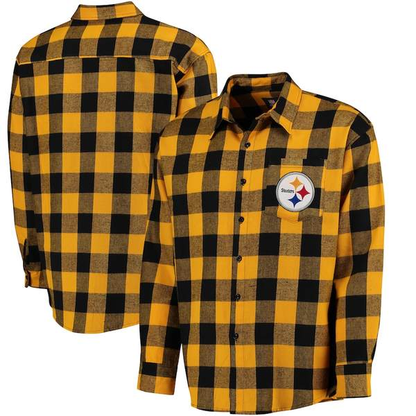 フォコ メンズ シャツ トップス Pittsburgh Steelers Klew Large Check Flannel Button-Up Shirt Black