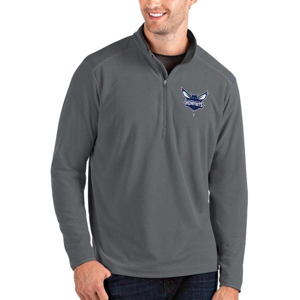 アンティグア メンズ ジャケット&ブルゾン アウター Charlotte Hornets Antigua Glacier Quarter-Zip Pullover Jacket Charcoal/Gray
