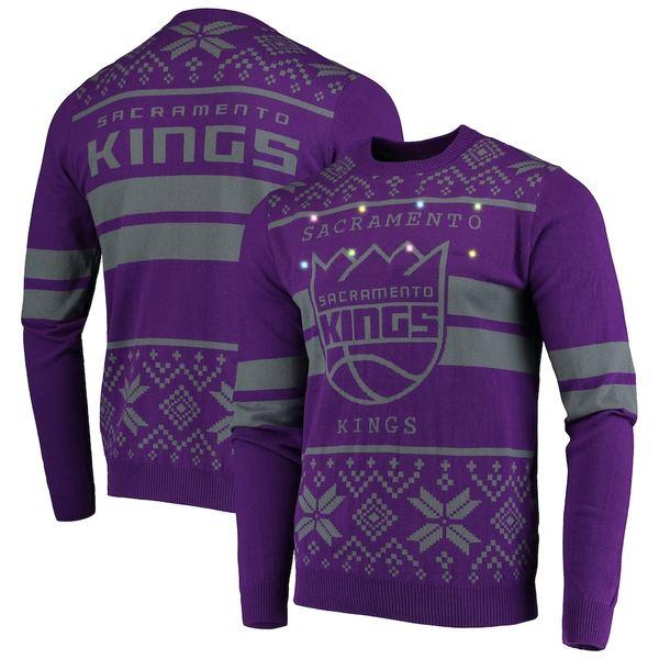 フォコ メンズ シャツ トップス Sacramento Kings Big Logo Striped Light-Up Pullover Sweater Purple