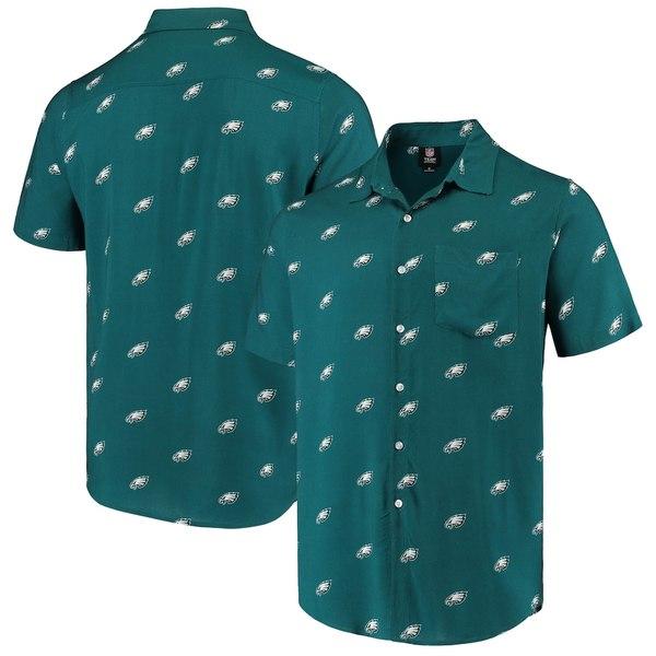 フォコ メンズ シャツ トップス Philadelphia Eagles Mini Print Logo Woven Button-Up Shirt Midnight Green