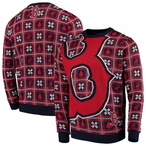 フォコ メンズ シャツ トップス Boston Red Sox Big Logo Pullover Sweater Navy