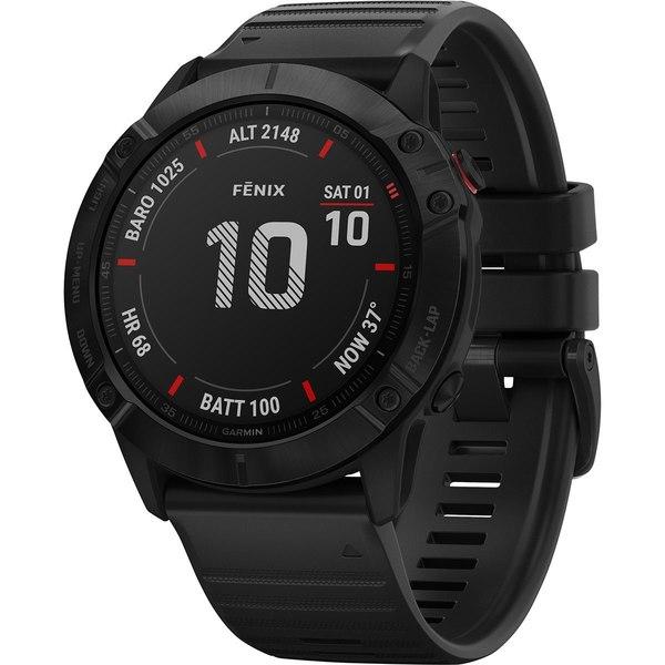 ガーミン メンズ 腕時計 アクセサリー Fenix 6 Glass Heart Rate Monitor Black/Black Band
