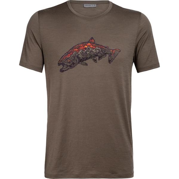 アイスブレーカー メンズ シャツ トップス Tech Lite Short-Sleeve Crew Tetons Salmon Shirt - Men's Driftwood