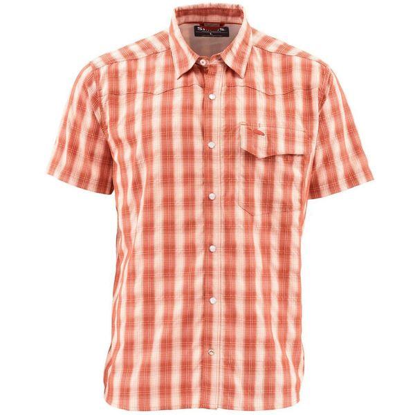 シムズ メンズ シャツ トップス Big Sky Short-Sleeve Shirt - Men's Simms Orange Plaid