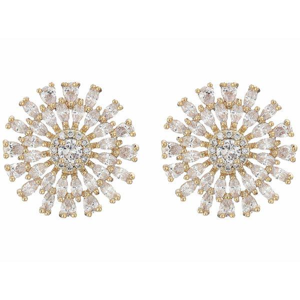 ニナ レディース ピアス&イヤリング アクセサリー Geo Flower CZ Stud Earrings Gold/White CZ