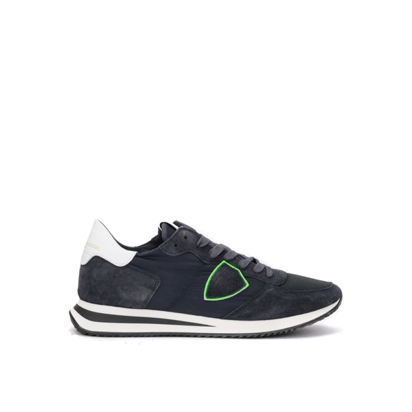 フィリップモデル メンズ スニーカー シューズ Philippe Model Tropez X Sneaker In Blue Suede With Fluorescent Green Detail -
