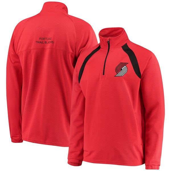 カールバンクス メンズ ジャケット&ブルゾン アウター Portland Trail Blazers G-III Sports by Carl Banks High Impact Quarter-Zip Pullover Jacket Red