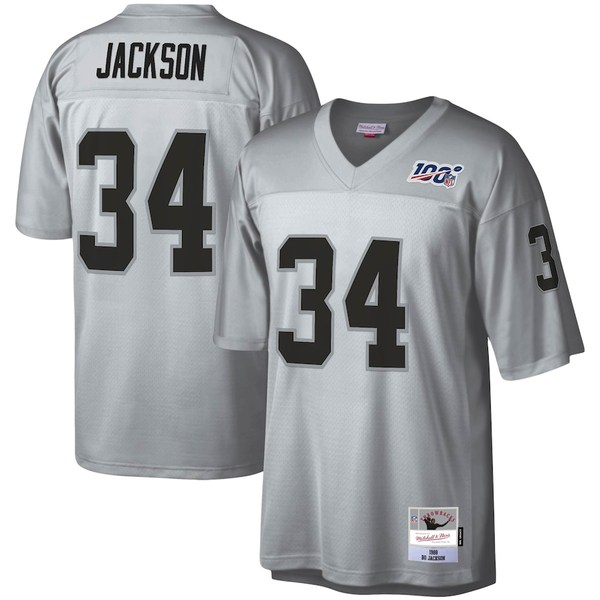 ミッチェル&ネス メンズ シャツ トップス Bo Jackson Las Vegas Raiders Mitchell & Ness NFL 100 Retired Player Legacy Jersey Platinum