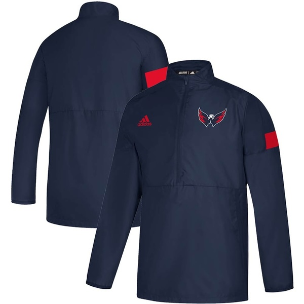 アディダス メンズ ジャケット&ブルゾン アウター Washington Capitals adidas Game Mode Quarter-Zip Pullover Jacket Navy