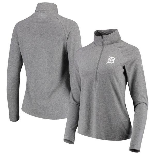 アンダーアーマー レディース ジャケット&ブルゾン アウター Detroit Tigers Under Armour Women's Passion Performance Tri-Blend Raglan Half-Zip Pullover Jacket Heathered Gray