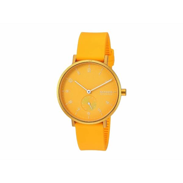 スカーゲン レディース 腕時計 アクセサリー Aaren Kulor 36mm Three-Hand Silicone Watch SKW2808 Yellow Silicone