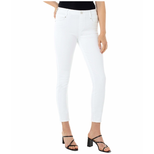 リバプール レディース デニムパンツ ボトムス Gia Glider Skinny Pull-On w/ Fake Fly in Bright White Bright White