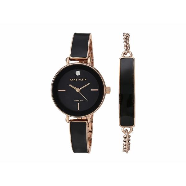 アンクライン レディース 腕時計 アクセサリー Watch and Bracelet Set Black/Rose Gold-Tone