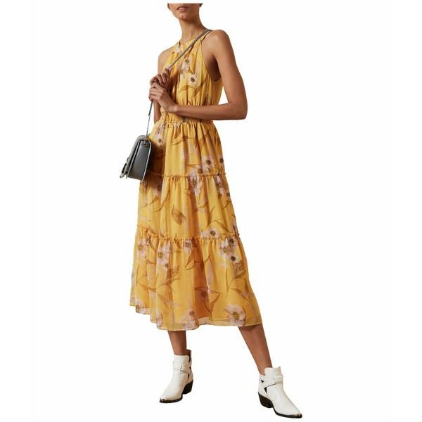 テッドベーカー レディース ワンピース トップス Saffine Cabana Printed Tiered Midi Dress Yellow