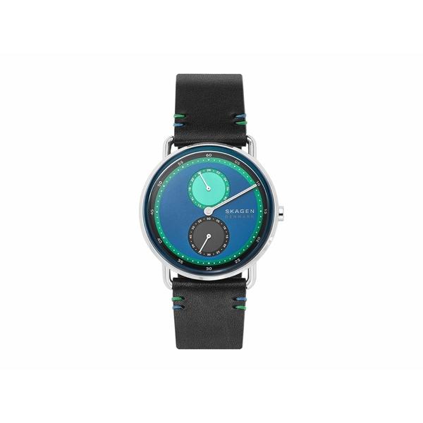 スカーゲン メンズ 腕時計 アクセサリー Limited Edition Horizont Dual Timezone Leather Watch Black