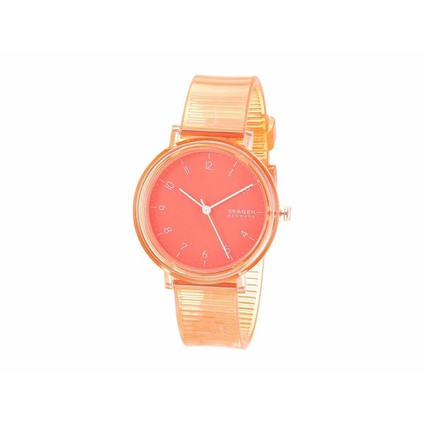 スカーゲン レディース 腕時計 アクセサリー Aaren Transparent Three-Hand Watch SKW2856 Coral Silicone