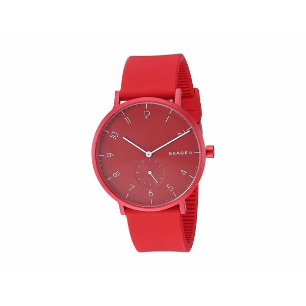 スカーゲン メンズ 腕時計 アクセサリー Aaren Kulor 41mm Three-Hand Silicone Watch SKW6512 Red Silicone