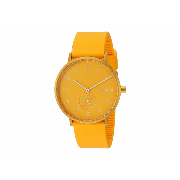 スカーゲン メンズ 腕時計 アクセサリー Aaren Kulor 41mm Three-Hand Silicone Watch SKW6510 Yellow Silicone