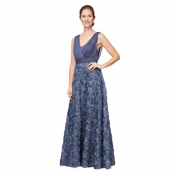 アレックスイブニングス レディース ワンピース トップス Long Sleeveless A-Line Rosette Dress Wedgewood