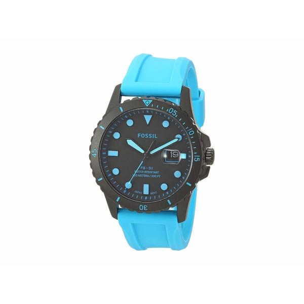 フォッシル メンズ 腕時計 アクセサリー FB-01 Three-Hand Date Men's Watch FS5682 Black Neon Blue Silicone