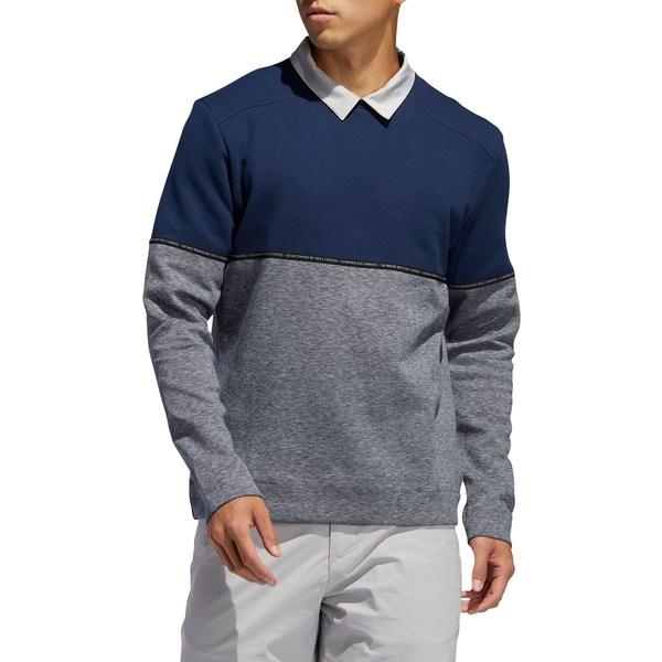 アディダス メンズ シャツ トップス adidas Men's Adicross Fleece Crew Neck Golf Sweatshirt CollegiateNavy/Collgtnvy
