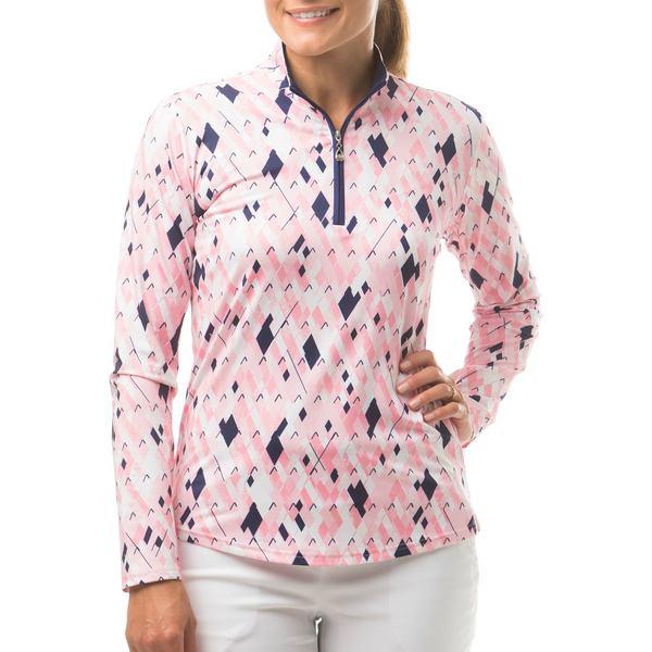 サン ソレイユ レディース シャツ トップス SanSoleil Women's SolCool Printed Zip Golf Pullover CarlylePink